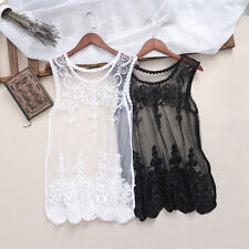 Elegant Women Floral Lace Vest Top See Through Blouse Casual Tank Tops T-Shirt
