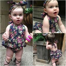 Floral Baby Girls Halter Ruffle Romper Jumpsuit Summer Dress Headband Outfits