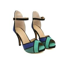 Women Colorful High Heel Open Toe Party Wedding Ankle Strap Sandal