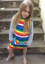 Rainbow Striped Kids Girls Toddler Baby Long Sleeved Summer Dress, Ages 1-8 Year