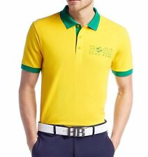 Hugo Boss Paddy Flag 100% Cotton Polo Shirt 50260461-730 Yellow BRAZIL