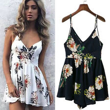 Summer Womens Sexy Bandage Chiffon Floral Jumpsuit Romper Dress Short Pants New