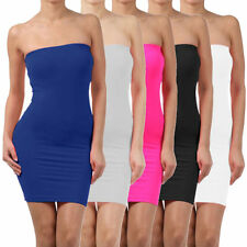 Elastic Tube Mini Dress Strapless Stretch Tight Body-con Seamless One Size XP