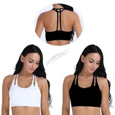 Women Wirefree Racerback Padded Strappy Sports Bra Tops Yoga Workout Gym Fitness