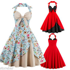 Womens Halter 1950s Swing Pinup Vintage Retro Rockabilly Evening Party Dress NEW