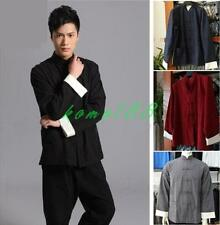 Mens Long Sleeve Cotton Traditional Chinese Tang suit coat Top Kung Fu size