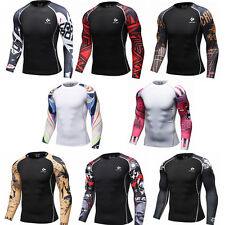 Mens Workout Sports T Shirts Compression Sweat absorbent Tops Fitness Gym Tights