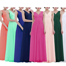 Long Chiffon Ruche Bridesmaid Formal Gown Ball V-Neck Party Prom Evening Dress