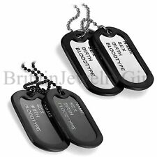 Mens Military Army Style Dog Tag Pendant w Black Silencers Ball Chain Necklace
