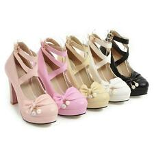 Womens Strappy Buckle Pump Chunky bowknow pearl High Heels Party Shoes color sz