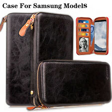 New Zip Wallet Magnetic Leather Cover Flip Phone Wallet Case For Samsung Models