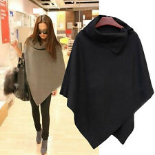New Womens Ladies Poncho Batwing Jumper Sweater Jacket Cape Loose Wrap Shawl Top