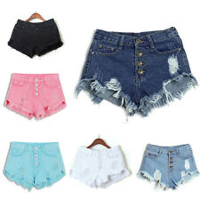 Women High Waisted Washed Ripped Hole Short Mini Jeans Pants Denim Shorts Pants