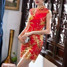 Cheongsam Wedding Bride Dress Chinese Womens Mini Red slim fit floral embroidery