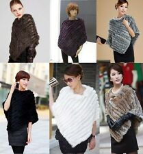 Fashion Womens Real Rabbit Fur Wrap Shawl Scarf Cape Poncho Scarf Outwear Vest