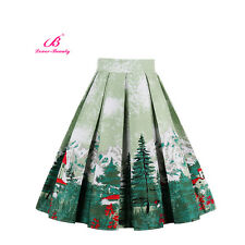 Fashion Women Retro Floral High Waist Pleated Party A-Line Midi Skater Skirt New