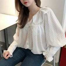 2017 New Sweet Women Spring Autumn Doll collar Long Sleeve Shirt Tops Blouse