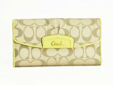 Coach Ashley Signature C Sateen/Leather Trim Wallet Checkbook Khaki/Chartreus