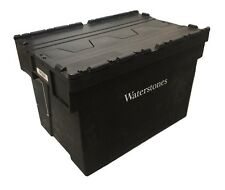 USED BLACK BIG 77 Litre Plastic Storage Boxes Containers Crates Totes with Lids
