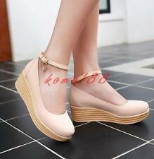 Womens Wedge Heel Platform Ankle Strap buckle Shoes Creeper Shallow Work OL pump