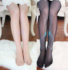 Sexy Women Transparent Fish Sparkling Mermaid Tail Printing Tights Pantyhose
