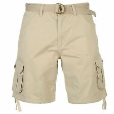 Lee Cooper Belted Cargo Shorts Mens Stone Summer Fashion Casual Short