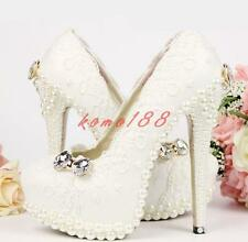 Womens ladies white pearl bow lace bride wedding high heel pump shoes flat heel