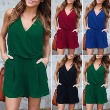Womens V-Neck Chiffon Bodycon Jumpsuit Party Casual Playsuit  Romper mini Dress