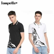 Jampelle B83 Trendy Design Lapel Collar Short Sleeved Hem Printing T-shirt XP