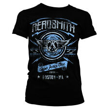 Officially Licensed Aerosmith- Aero Force One Distressed Women T-Shirt (S-XXL)