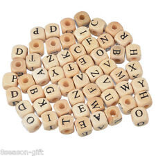Wholesale Lots Mixed Natural Color Cube Alphabets Letter Wood Beads Jewelry 10mm