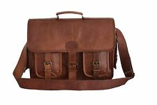 """11-16"""" Real Brown Leather Padded DSLR Camera Briefcase Satchel Attache Messenger"""
