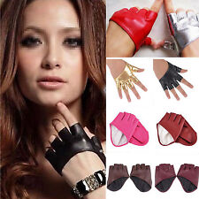 Beauty Half Finger PU Leather Gloves Lady Fingerless Driving Show Pole Dancing