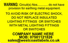 EARTHING CIRCUIT - Personalised Free - Electrical Safety Warning Labels -
