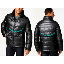 NWT LEVIS MENS FAUX LEATHER QUILTED PUFFER JACKET COAT BLACK SIZE SMALL