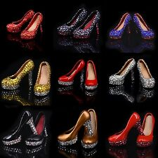 """1/6 Scale Handmade Luxury Crystals High Heels Shoes For 12"""" Figure Female Body"""