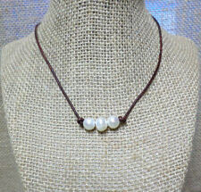 Triple Freshwater Pearl Genuine Leather Cord Choker Necklace YOU CHOOSE COLOR