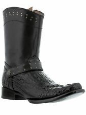 mens black exotic crocodile head cut western leather cowboy boots square rodeo