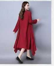 New Fashion Cotton  Long Sleeve O-neck Mid-calf Casual Wear Dress for Women