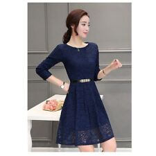 Spring Summer Autumn Fashion Long Sleeve Belted Dress For Women