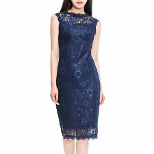 Women Lace Knee Length Sleeveless Solid Color Ball Gown Party Dress St0808