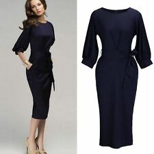 Women Bow Bandage Belted Plus Size Long Lantern Sleeve Pencil Dress St0569