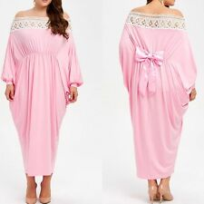 Plus Size New Off Shoulder Sun Dress Long Lace Stitching Back Bow Pink Dress