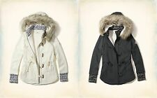 NWT Hollister by Abercrombie&Fitch Sherpa Lined Patterned Fur Trim Hoodie XS S