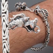 DRAGON HEAD BALI BYZANTINE CHAIN 925 STERLING SILVER MENS BRACELET 8 8.5 9 10""