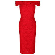 Red Vintage 40s 50s Lace Bardot Pencil Wiggle Bodycon Party Cocktail Dress