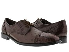 mens brown dolce pelle real crocodile ostrich skin dress shoes oxford wing tip
