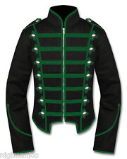 Men New Green Black Military Marching Band Drummer Jacket New Style 100% Cotton