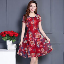 new summer Korean fashion elegant temperament shitsuke chiffon printing dress