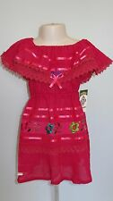 Mexican Embroidered  Dress Hippie Peasant Tunic Smock Youth Child Kids Girls